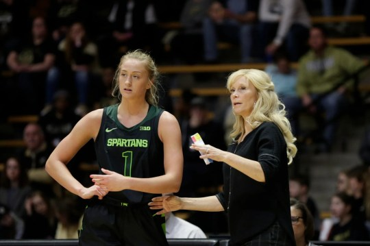 Michigan State head coach Suzy Merchant and Michigan State guard Tory Ozment (1) talk during the first quarter of a NCAA women's basketball game, Thursday, Feb. 20, 2020 at Mackey Arena in West Lafayette.