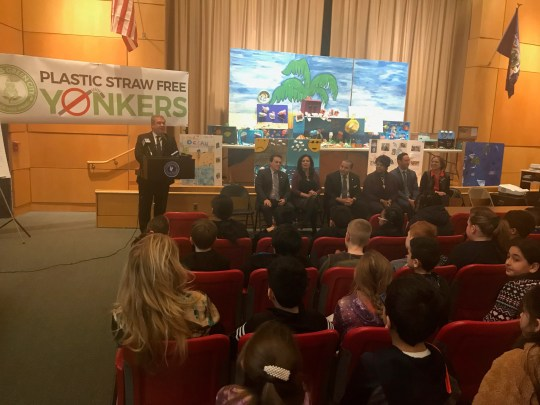 Yonkers Mayor Mike Spano speaking to students at Paideia School 15. Feb. 27, 2020