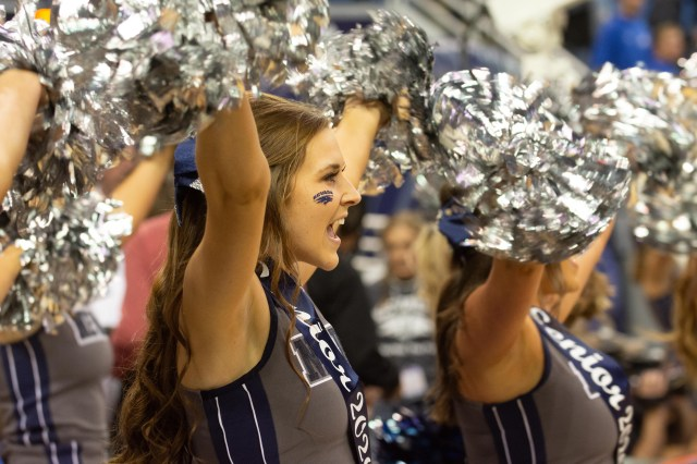 Feb. 29: The Nevada Wolf Pack cheerleaders perform during the game against the San Diego State Aztecs.
