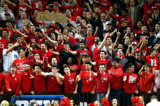 Rutgers Scarlet Knights fans cheer during the first half at Rutgers Athletic Center (RAC).