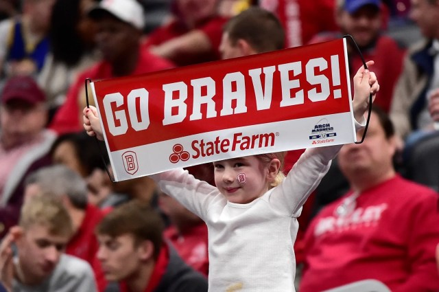 March 7: A Bradley Braves fan holds up a sign during the second half against the Drake Bulldogs at Enterprise Center.