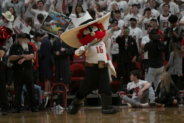 March 7: The Texas Tech Red Raiders mascot performs during the game against the Kansas Jayhawks at United Supermarkets Arena.