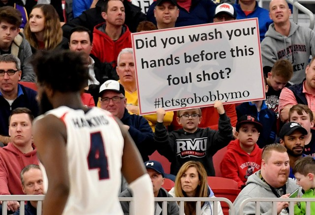 March 10: A Robert Morris fan holds up a sign during the team's game against St. Francis in the Northeast Conference championship in Pittsburgh. Robert Morris won the game, 77-67.