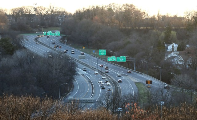 A normally packed Cross County Parkway in Yonkers, NY carries very light traffic as seen March 16, 2020 at 7:25 a.m.