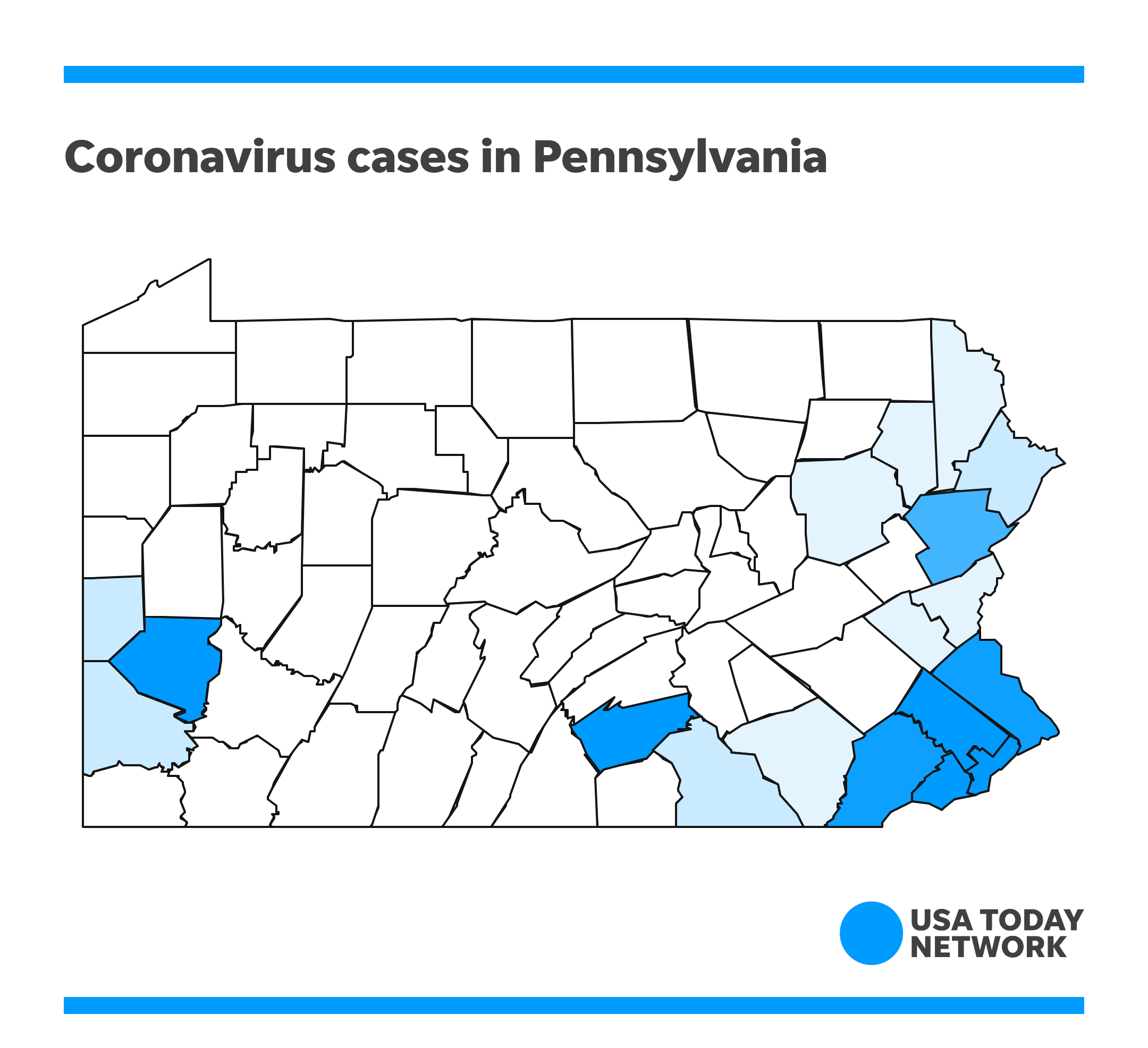 Pa. coronavirus map: Track outbreak by county; See cases over time