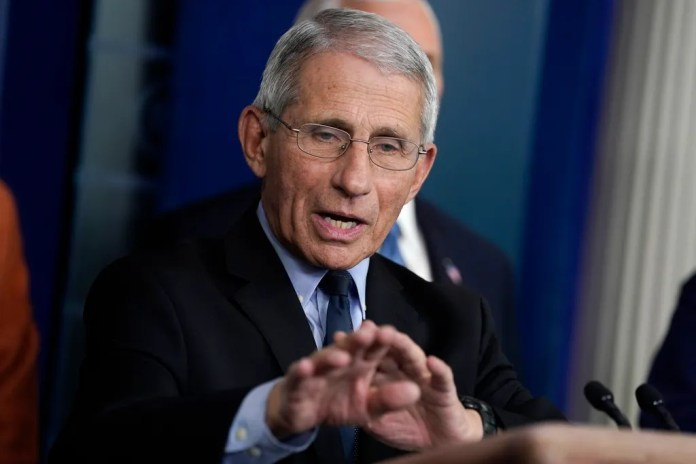 Dr. Anthony Fauci, director of the National Institute of Allergy and Infectious Diseases, speaks during a press conference with the Coronavirus Working Group on March 17, 2020.