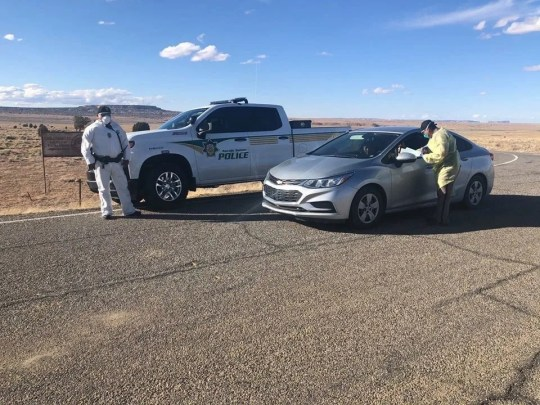 The Navajo Nation Police Service set up checkpoints near the community of Chilchinbeto, Arizona in response to the increase in positive cases of COVID-19.
