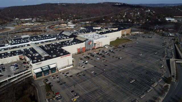 Nearly empty parking lots at the Palisades Center mall in West Nyack on March 16, 2020.