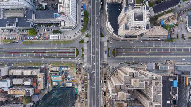 This aerial photo taken on March 26, 2020 shows nearly empty roads in Wuhan in China's central Hubei province.