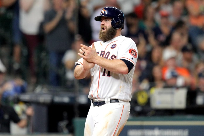 Evan Gattis hit .263 with 12 home runs and 55 RBIs in 2017 as the Astros won the World Series.