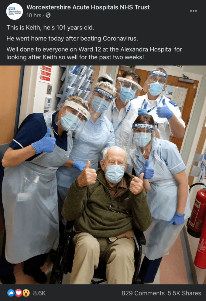 Coronavirus: 101-year-old British man survives after two-week fight