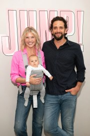 Amanda Kloots and Nick Cordero, with their son, Elvis, attend the launch event of the Beyond Yoga x Amanda Kloots collaboration on August 27, 2019 in New York.