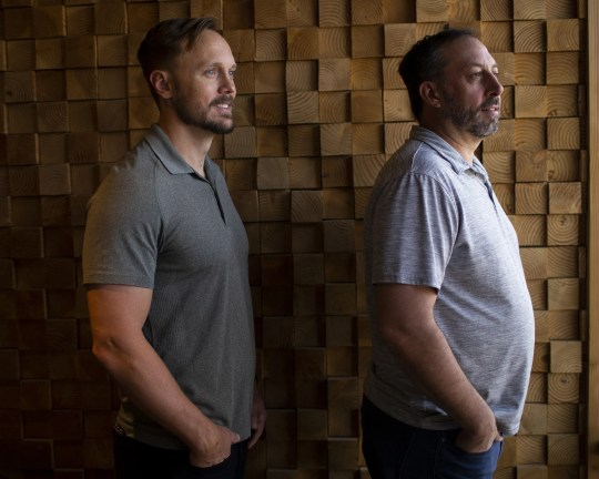 Jamison Manwaring (left) and John Kobierowski (right), the co-founders of Neighborhood Ventures, stand for a portrait at their office in Phoenix on April 9, 2020.