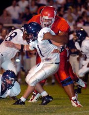 Jace Prescott of Fromer Haughton (tall), 6 feet 6 inches, 343 pounds, played the Northwest Line offensive lineman from 2008-10.