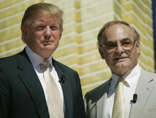 """Kansas billionaire businessman Phil Ruffin, right, is seen with  Donald Trump, Tuesday, July 12, 2005 in Las Vegas during a ceremony to mark the start of  the 64-story hotel and apartment tower that Trump and Ruffin will build on the Las Vegas Blvd. """"strip,""""  across from the Wynn Las Vegas resort.(AP Photo/Joe Cavaretta)"""