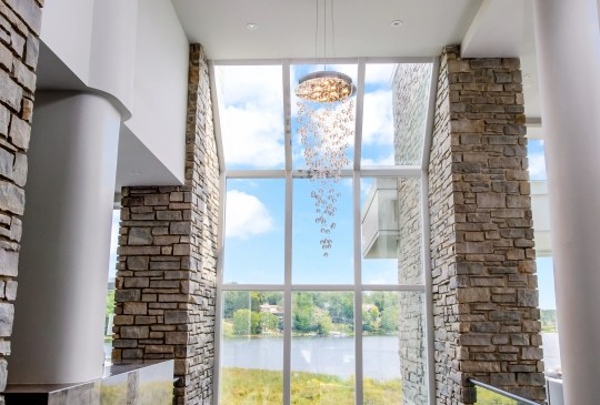 A chandelier hangs in the home of Detroit Lions quarterback Matthew Stafford at 1867 Long Pointe Drive in Bloomfield Twp. The house is on sale for $ 6.5 million. The five-bedroom, seven-bathroom lakefront home is 12,295 square feet, of which 7,720 are above ground. The house overlooks Upper Long Lake.