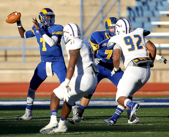 Kyle Washington from Angelo State University prepares to throw Texas A&M Kingsville on November 9, 2013.