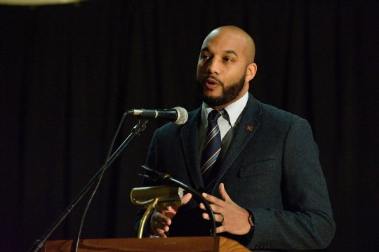 Passaic County Freeholder T.J. Best, here speaking at an event in Passaic on Feb. 26, 2016, took to social media to speak against Paterson Mayor Andre Sayegh on May 21, 2020.