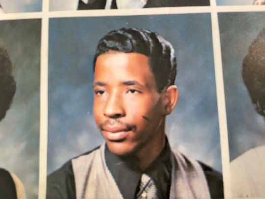 Larry Harris's photo in the Dunbar Vocational Career Academy yearbook in 1976.