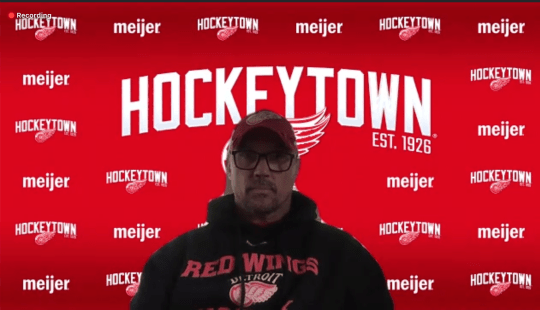 Red Wings general manager Steve Yzerman speaks to the media via a Zoom call on Wednesday, May 27, 2020.
