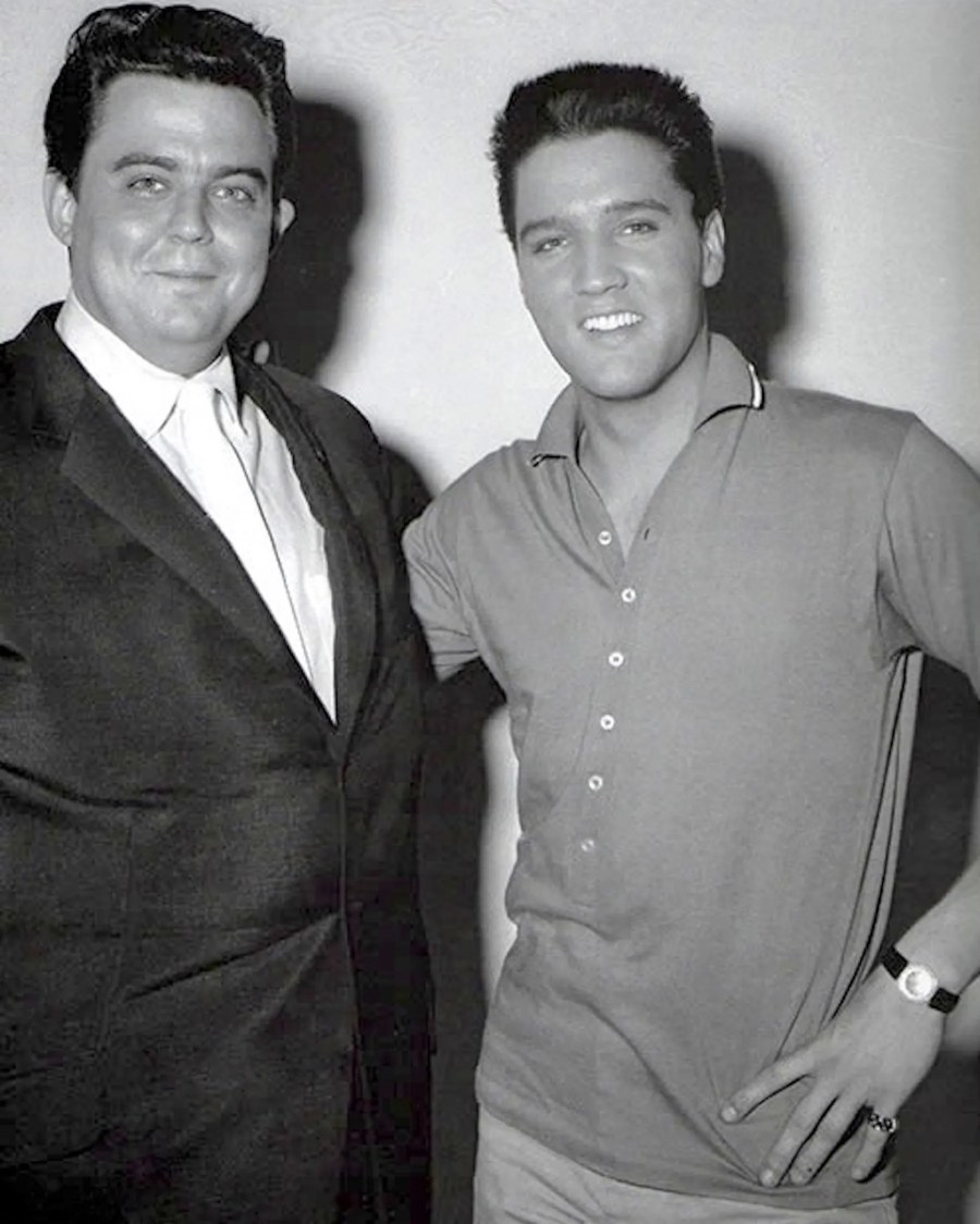 "Lamar Fike, left, worked with Elvis Presley from 1954, before Presley's first recordings at Sun Studios in 1954 until Elvis' death in 1977. Fike and Presley are shown here in April 1960 at RCA Studios in Nashville, where Presley was recording the soundtrack to ""G. I. Blues."""