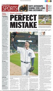 Front page of the Detroit Free Press sport on June 3, 2010.