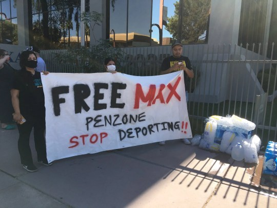 Protesters gathered at the Phoenix office of Immigration and Customs Enforcement to call for the release of Maxima Guerrero on June 1, 2020.