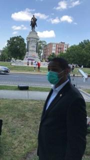 Virginia Lt. Gov. Justin Fairfax speaks next to the statue of Robert E. Lee in Richmond, Virginia, on June 4, 2020.