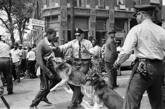 In this May 3, 1963 file photo, Walter Gadsden, 17, defies an anti-parade ordinance of Birmingham, Alabama, and is attacked by a police dog. Such images from the Civil Rights Movement played a big role in turning the nation's attention to the plight of African Americans and eventually led to the passage of a variety of laws meant to give people of color more rights.