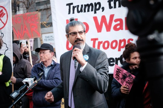Shahid Buttar, who is running for Congress against fellow Democrat and House Speaker Nancy Pelosi, is shown here at a No War With Iran protest in San Francisco in January. Buttar is a veteran of 20 years of street protests.