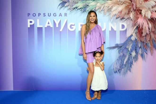 Chrissy Teigen and Luna Legend poses for a photo during POPSUGAR Play/Ground at Pier 94 on June 23, 2019 in New York City.