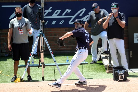 The Detroit Tigers hosted training sessions at Comerica Park on Saturday July 4, 2020. Stunt prospector Casey Mize hosted a paddock session under the watchful eyes of the coaching staff.