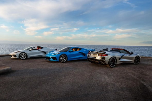 2021 Chevrolet Corvette Stingray Coupe and Convertible (far right in new Silver Flare Metallic)