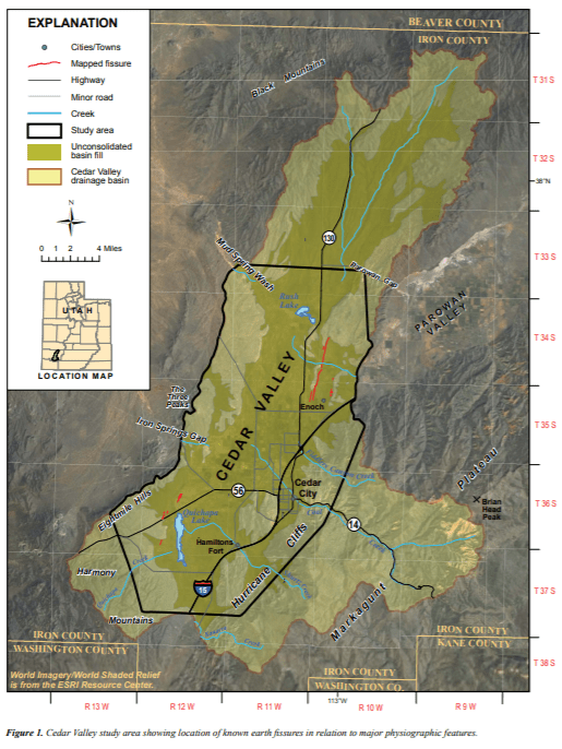 "Figure 1 from Tyler Knudsen's 2014 report for the Utah Geological Survey titled 'Investigation of land subsidence and earth fissures in Cedar Valley, Iron County, Utah,"" showing the location of ground fissures (red lines) in Cedar Valley."