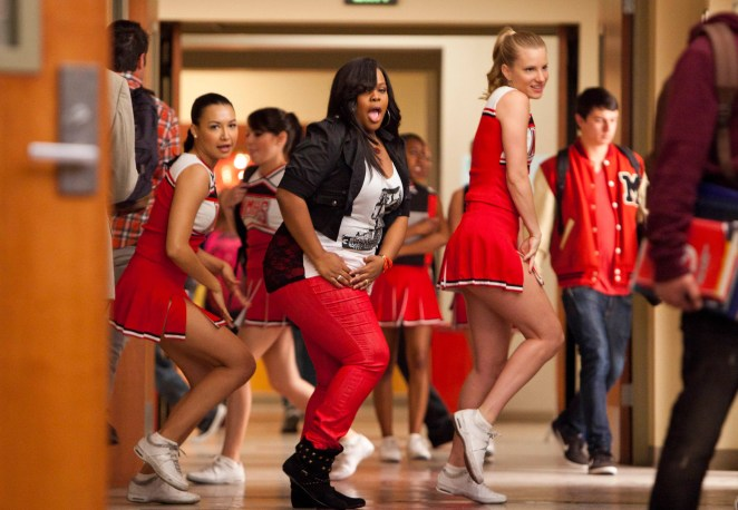 """Santana (Naya Rivera, left), Mercedes (Amber Riley, center) and Brittany (Heather Morris) perform in the 'Saturday Night Glee-ver' episode of """"Glee."""""""