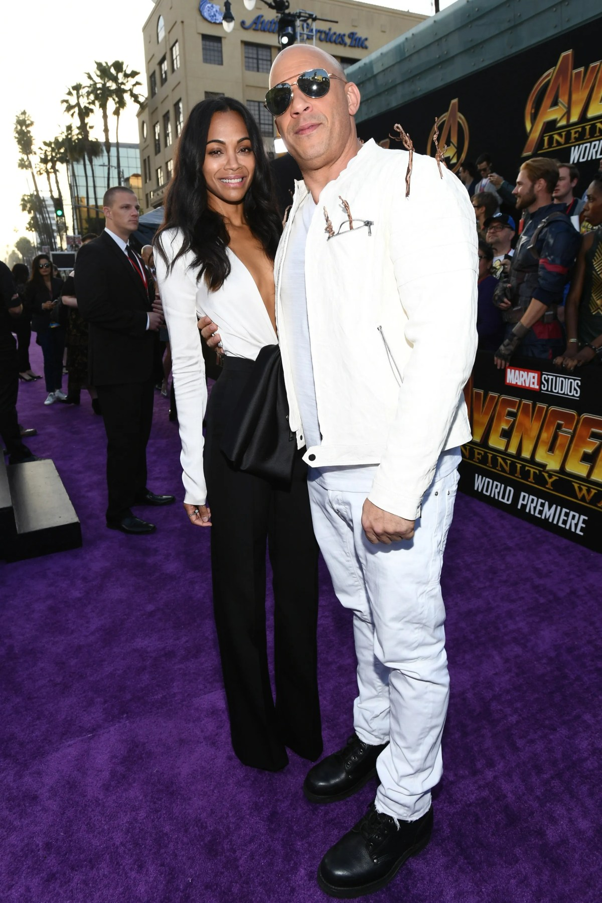 """He and Zoe Saldana attend the premiere of Disney and Marvel's """"Avengers: Infinity War"""" in 2018."""