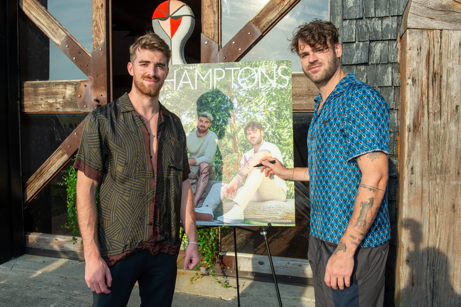 Drew Taggart  and Alex Pall attend Hamptons Magazine x The Chainsmokers VIP Dinner at The Barn at Nova's Ark on July 25, 2020 in Watermill, New York.