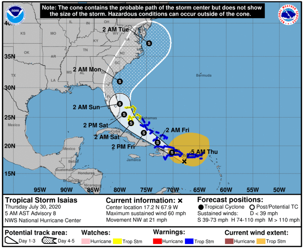 Tropical Storm Isaias Track Florida In Forecast Path