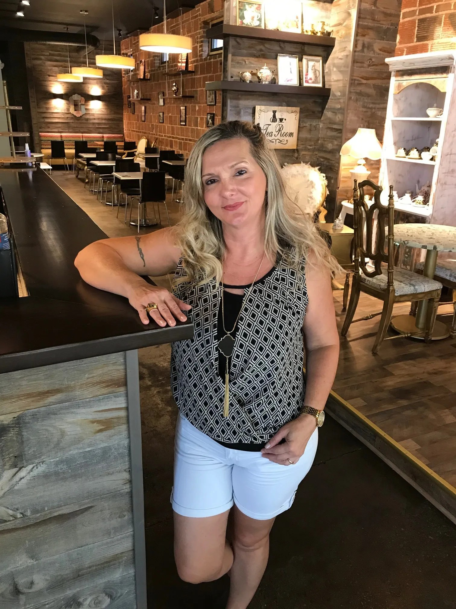 Sara Burton, co-owner of Crafty Cats Brewery Coffee & Tea, a new tea and coffee cafe and brewery concept opening in Greenville's West End district.