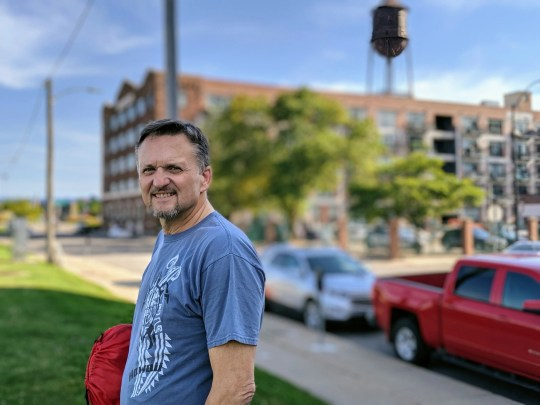 Greg Abbey walks in Seattle, Wash., in spring 2020, after he survived a heart attack near Centerville, Iowa, July 24, 2019.