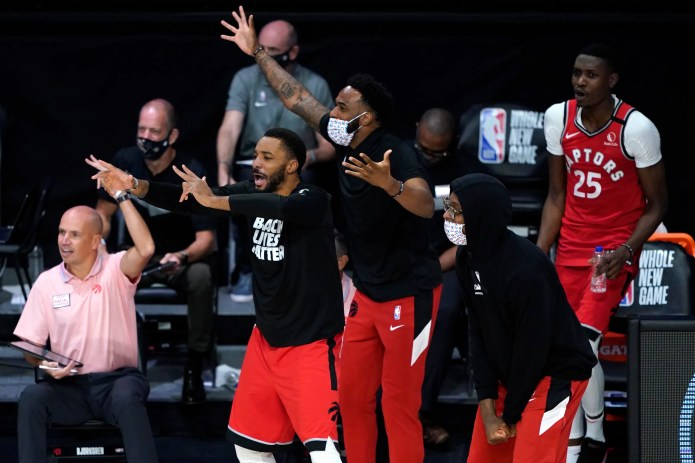 Aug. 12: The Raptors bench got hyped during their win over the Sixers.