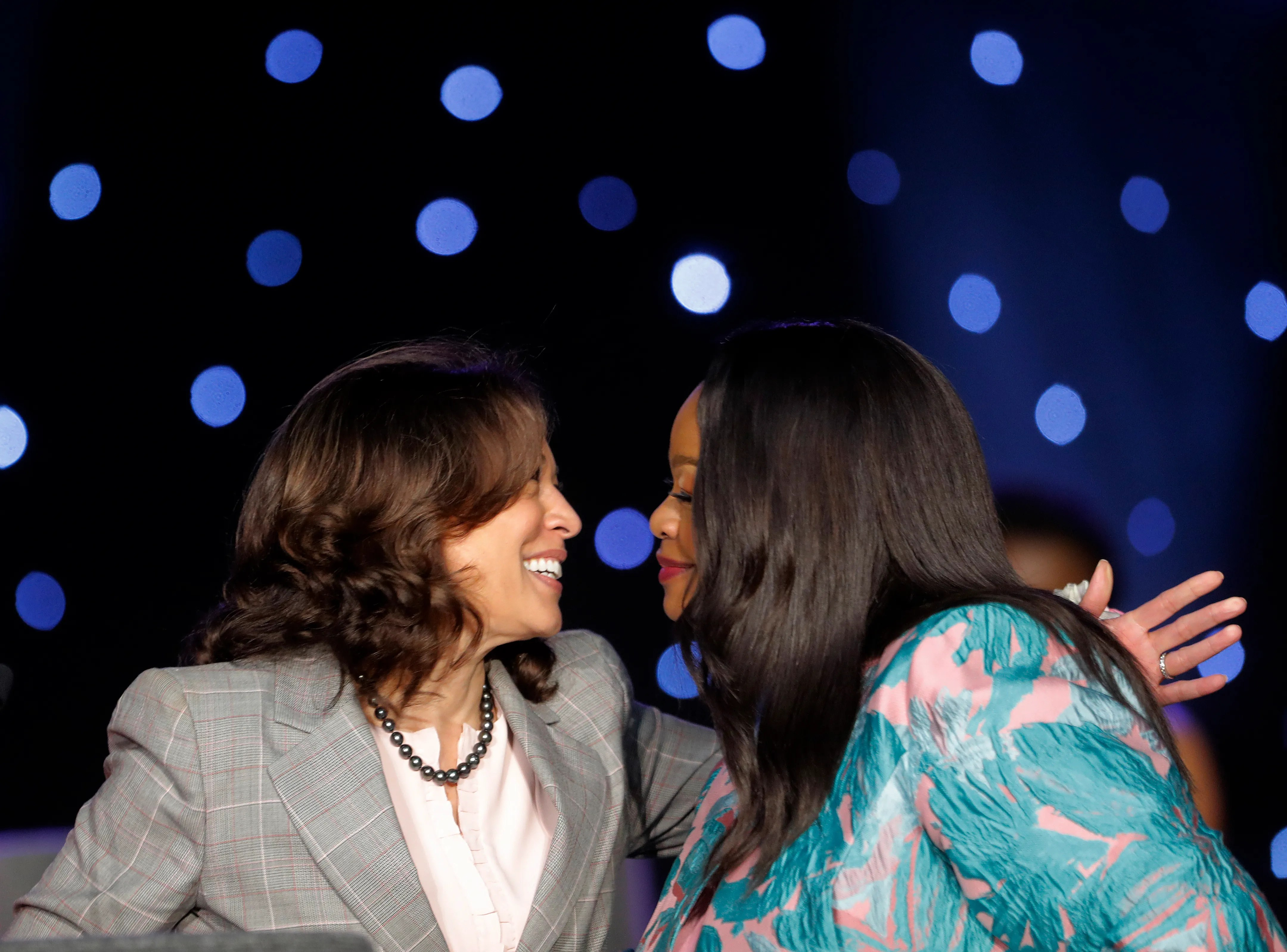 Sen. Kamala Harris, D-Calif., left, is greeted by Alpha Kappa Alpha South Central Regional Director Katina Semien at the sorority's annual conference in New Orleans on April 19, 2019.
