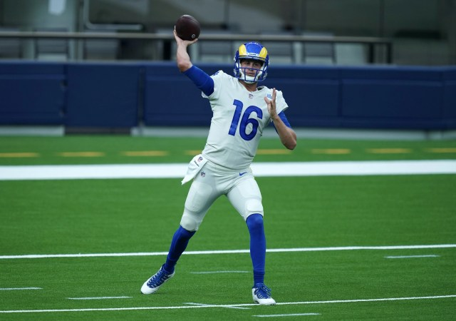 Los Angeles Rams quarterback Jared Goff throws a pass during a scrimmage at SoFi Stadium.