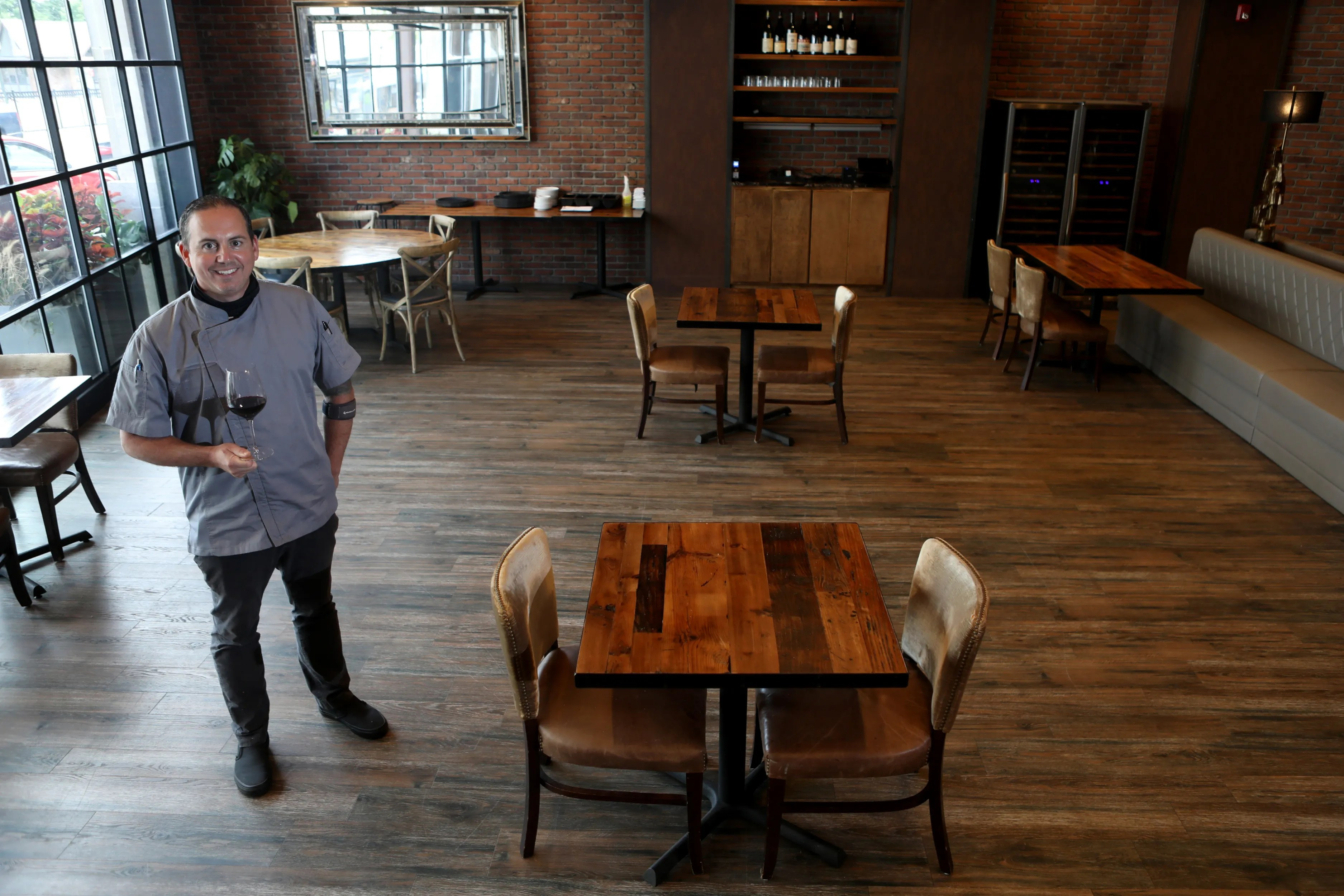 Anthony Bucco at Felina Bar & Restaurant after tables were spaced for social distancing.