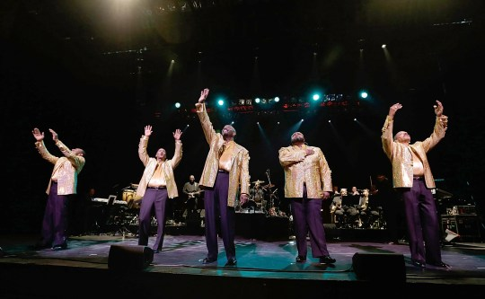 Joe Herndon (from left), Terry Weeks, Otis Williams, Bruce Williamson and Ronald Tyson  of The Temptations perform during