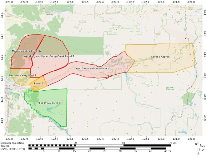 Evacuation map for the wildfires burning east of Springfield in the McKenzie River corridor.