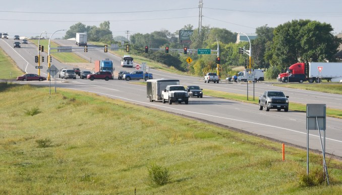 Cars drive on Highway 15 in St. Cloud Friday, Sept. 11, 2020.
