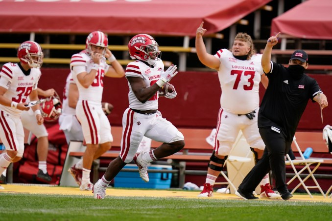 Chris Smith helped UL to a 31-14 upset win at Iowa State on Saturday and a No. 21 national ranking Sunday with this kickoff return for a touchdown against the Cyclones.