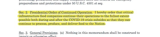 This is the text of a draft executive order the meat industry sent to the USDA. A week later,  Trump's order read in part: the Secretary of Agriculture shall take all appropriate action ... to ensure that meat and poultry processors continue operations consistent with the guidance for their operations jointly issued by the CDC and OSHA.
