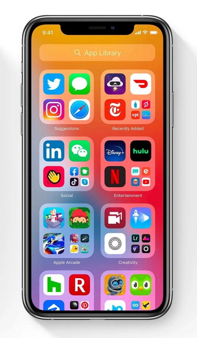 "iOS14 creates ""app libraries"" of similar apps"